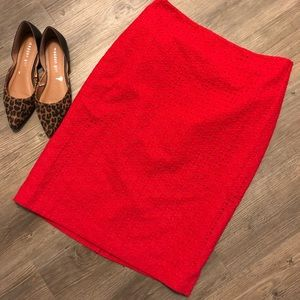 Talbots eyelet bright red pencil skirt